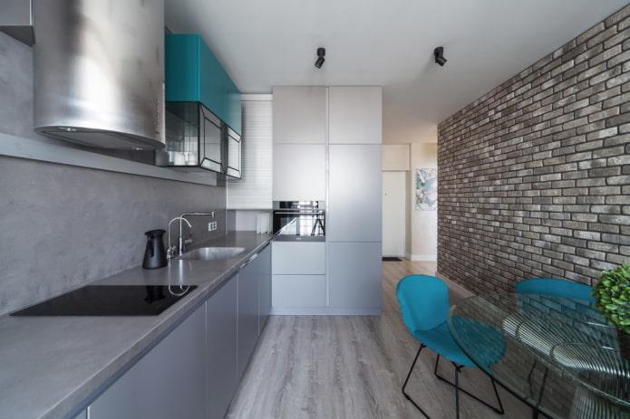 отделка в интерьере кухни в серых тонах
