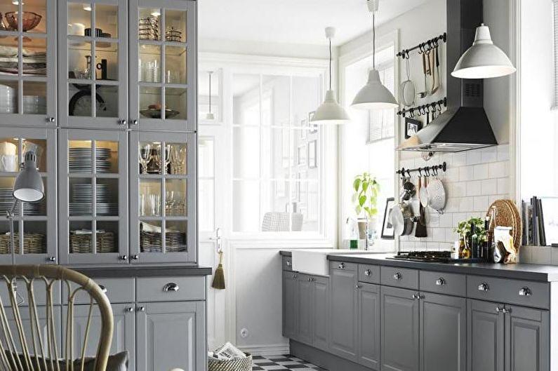 Дизайн серой кухни - Текстиль и декор