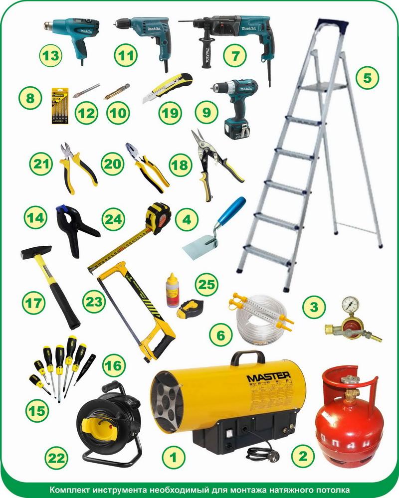 Инструменты, необходимые для самостоятельной установки натяжного потолка
