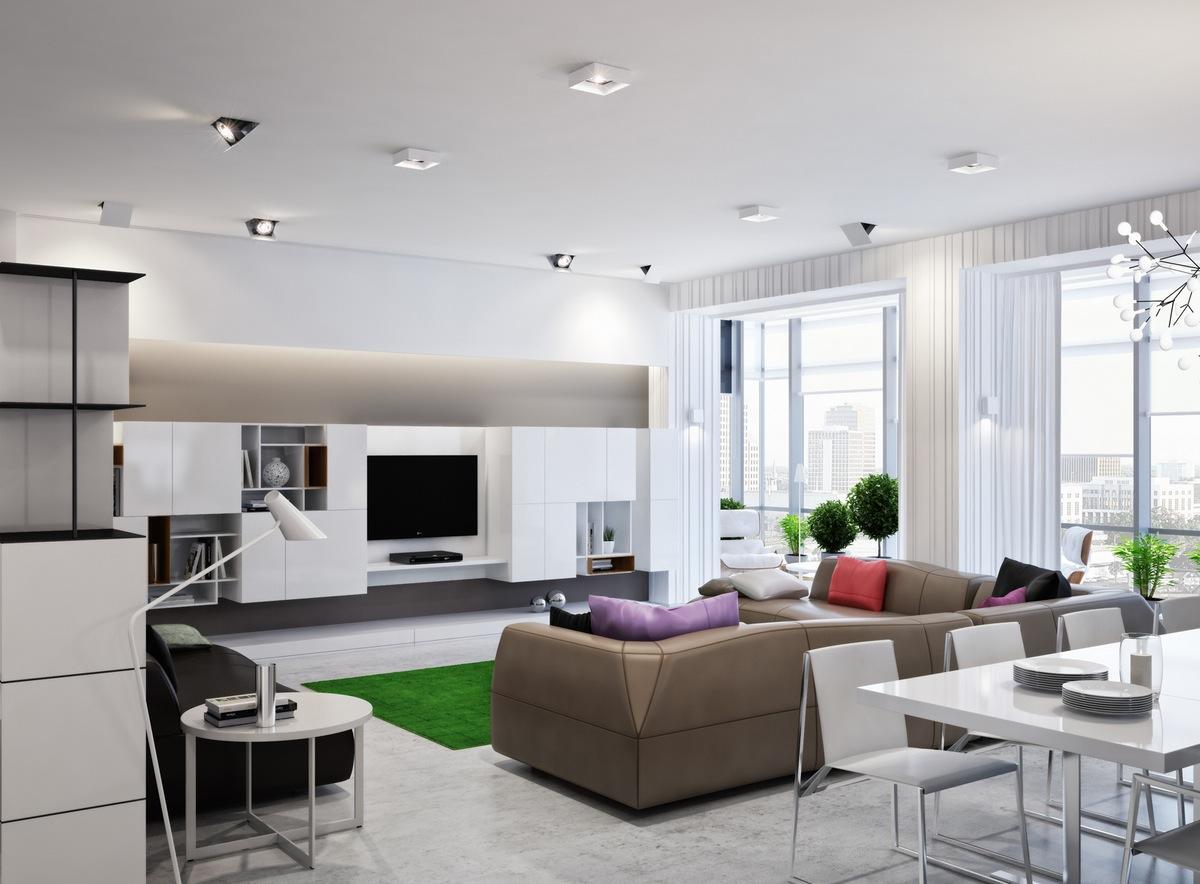 Зонирование гостиной и кухни в стиле хай-тек