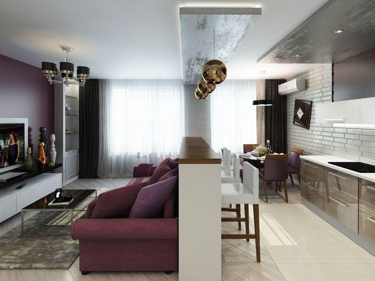 Студия с диваном у стены напротив кухни