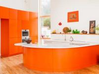 Оранжевая кухня — Яркий дизайн в лучшем интерьере (86 фото)