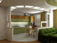 Оригинальные варианты зонирования кухни и гостиной