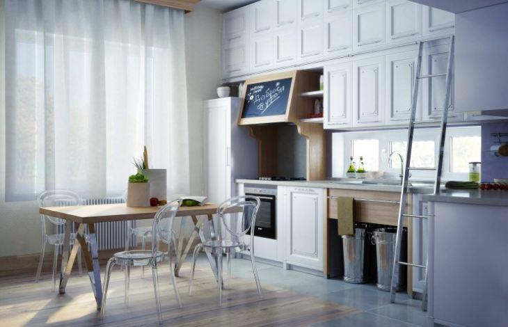 белый кухонный гарнитур в интерьере фото