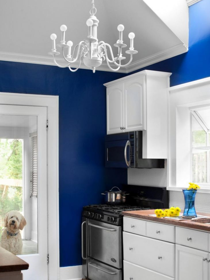 дизайн кухни бело бирюзовые цвета