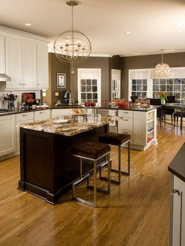 бирюзово коричневая кухня