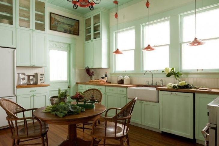 бирюзовая кухня фото