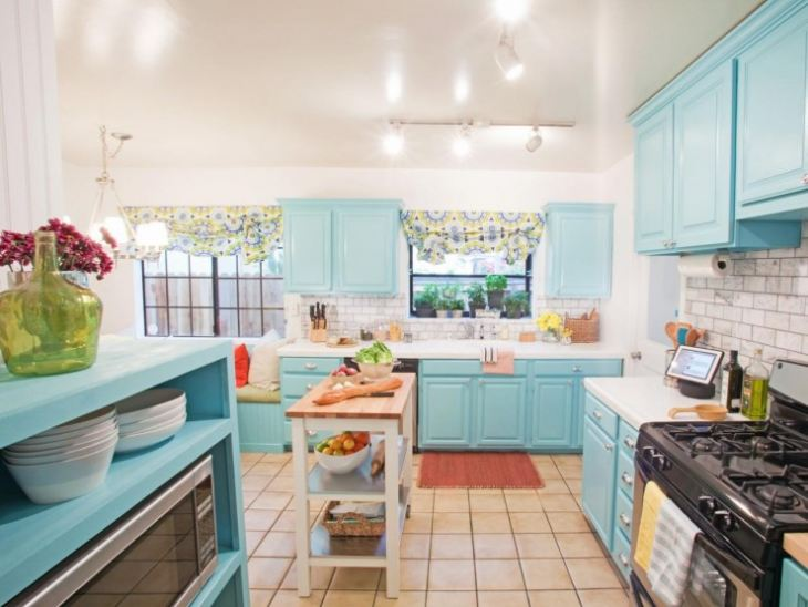 бирюзовая кухня в интерьере фото
