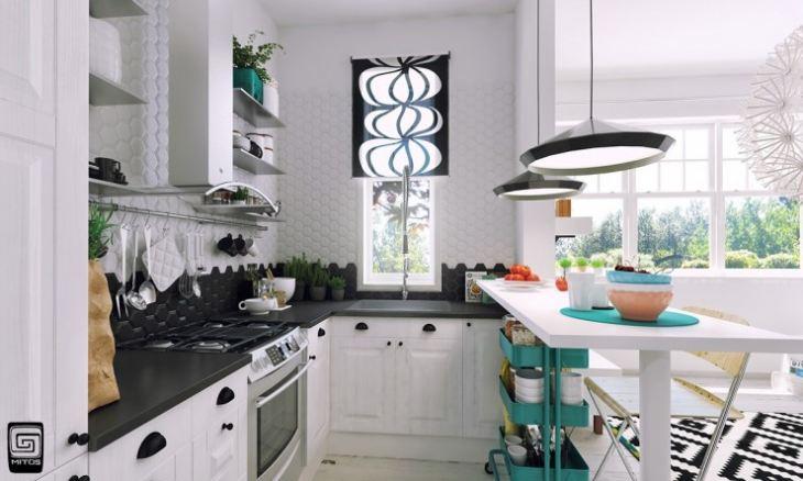 кухня в бело бирюзовых тонах