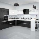 Кухни черно белые фото