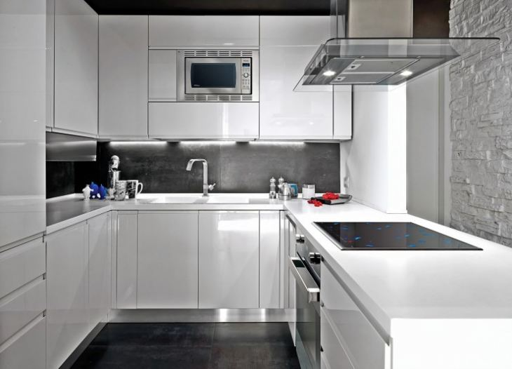 Кухни черно белого цвета фото
