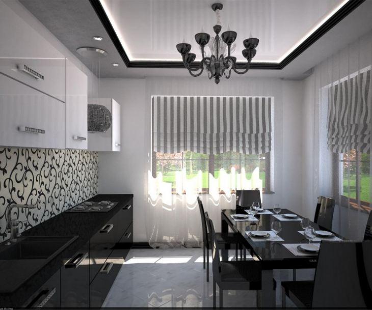 Черно белая кухня в интерьере фото