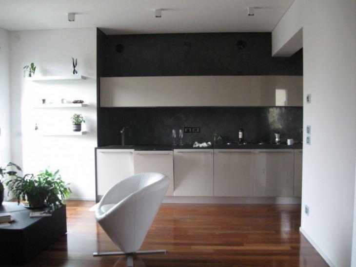 Черно белый дизайн кухни фото