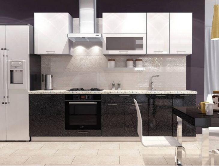 Дизайн кухни белая с черным фото