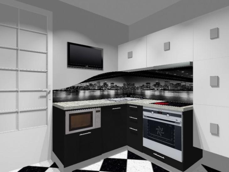 Кухни фото черно белые