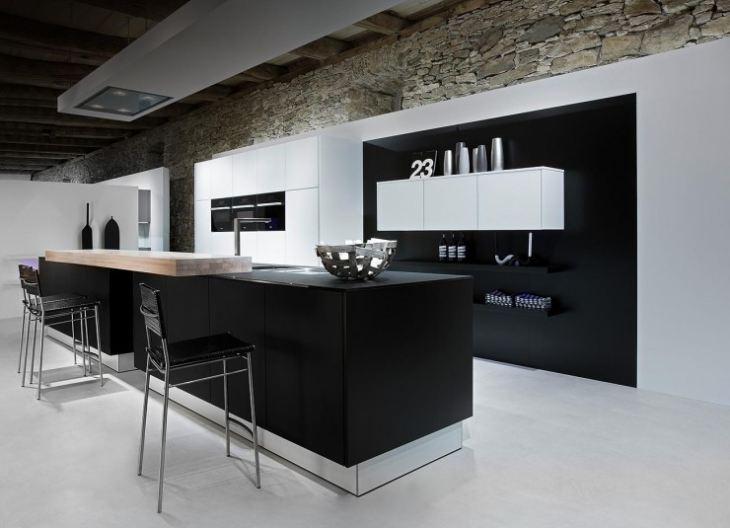 Кухня в бело черных тонах фото