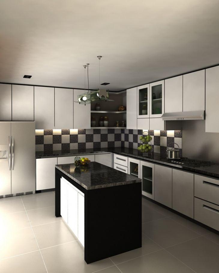 Дизайн кухни черно белой