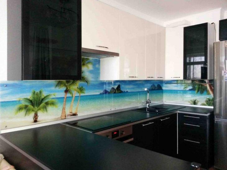 Стеклянные фартуки для кухни фото