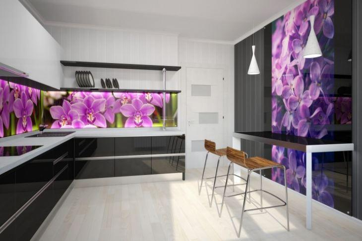 Фартук для кухни из стекла фото цветы