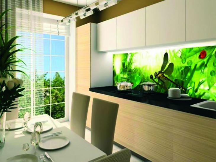 Фартук на кухню из стекла с фотопечатью