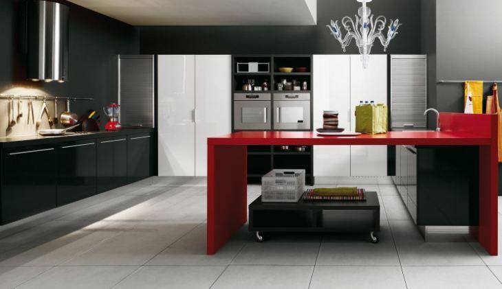 красные кухни фото