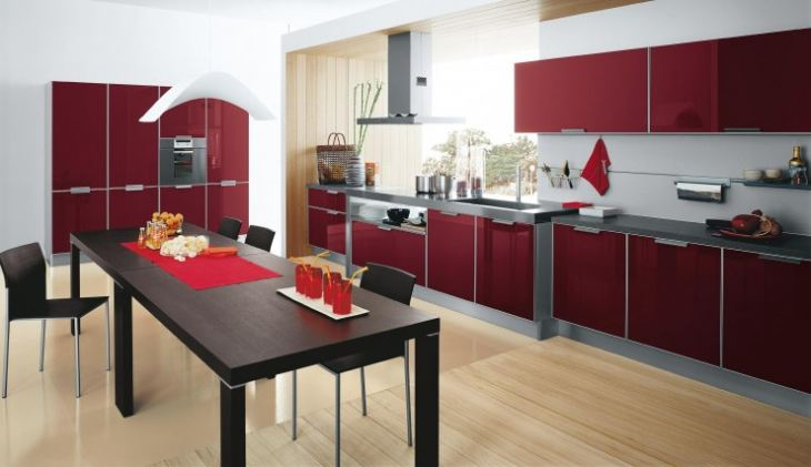 кухни красного цвета фото