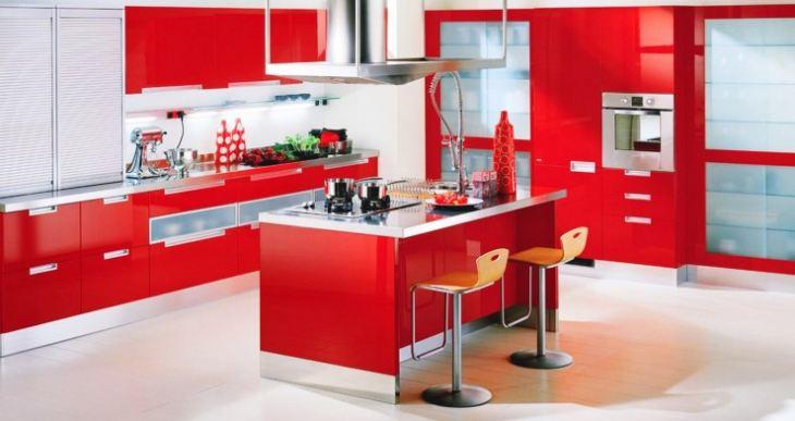 Современный дизайн красной кухни фото