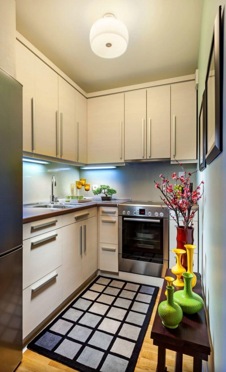 Кухни интерьер и дизайн 6 кв м с холодильником