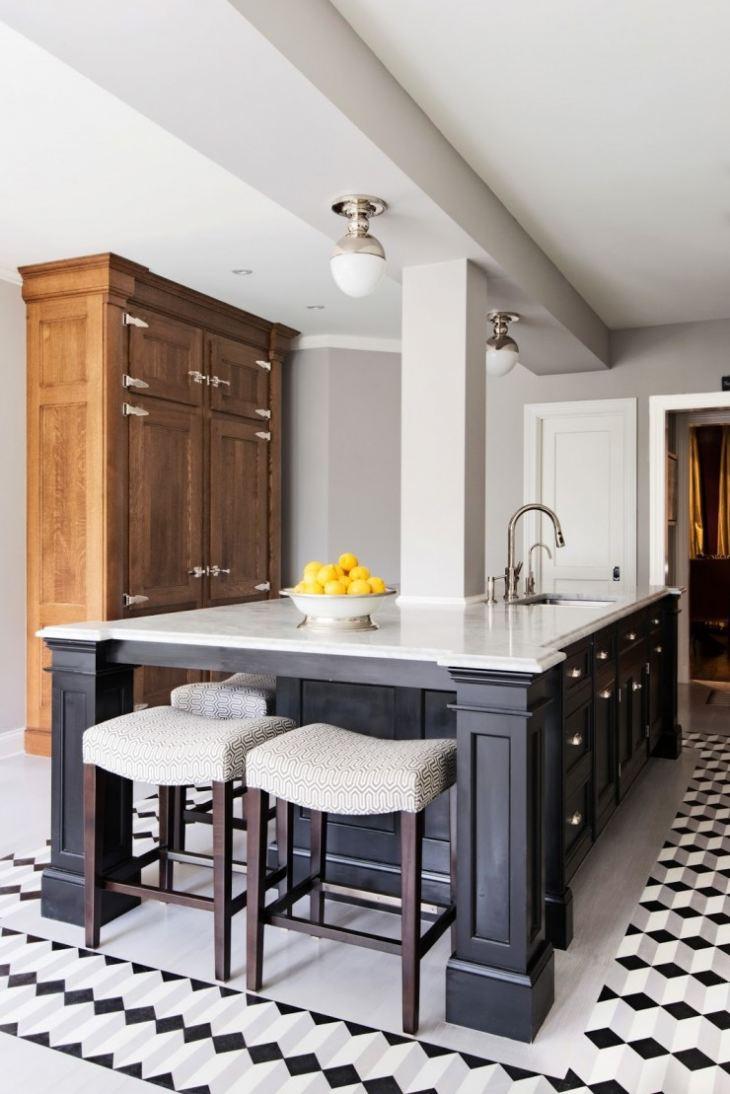 Белая кухня черный пол