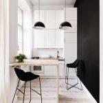 Кнтерьер кухни черно белого цвета
