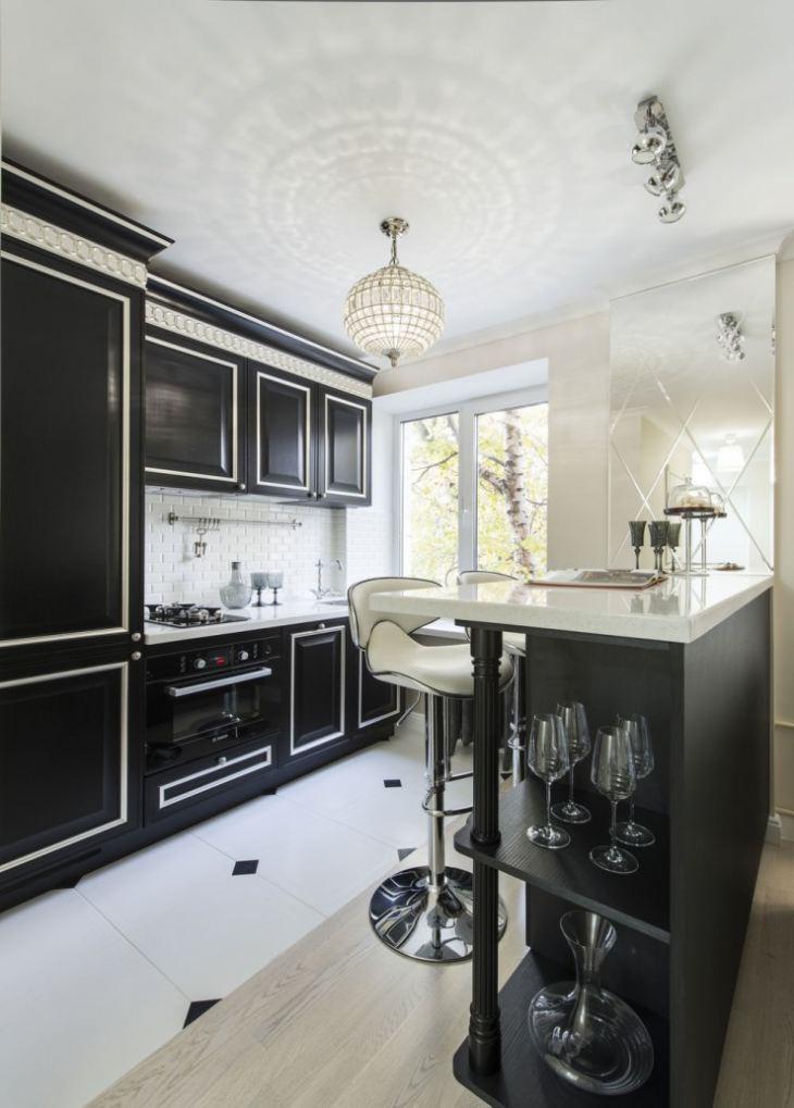 Кухня в бело черном цвете