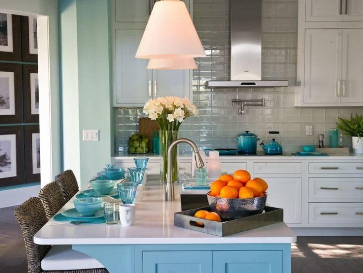 Кухня в серо голубых тонах фото