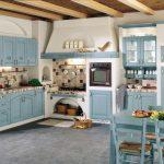Бело голубой интерьер кухни