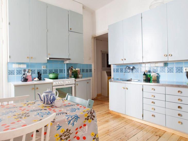 Кухни с голубым фартуком фото