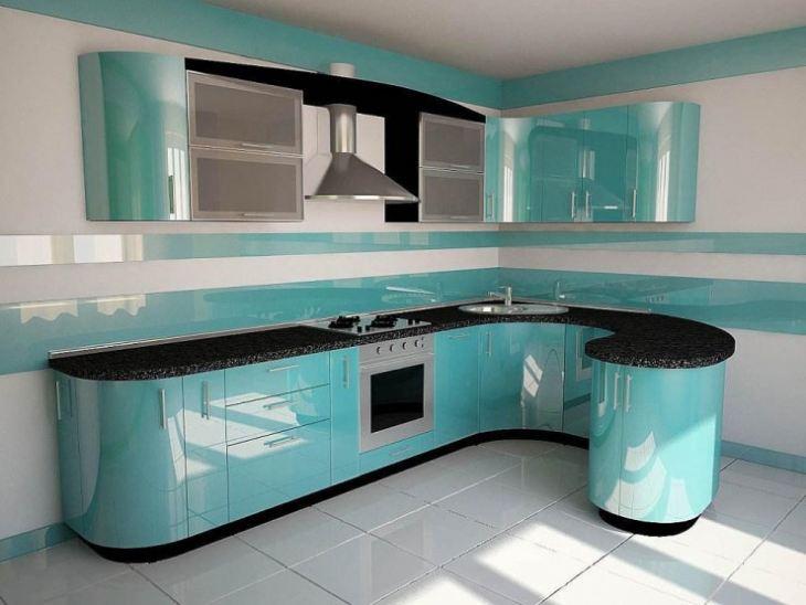 Кухня бело голубая фото