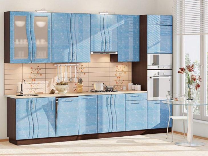 Кухня в бежево голубых тонах фото