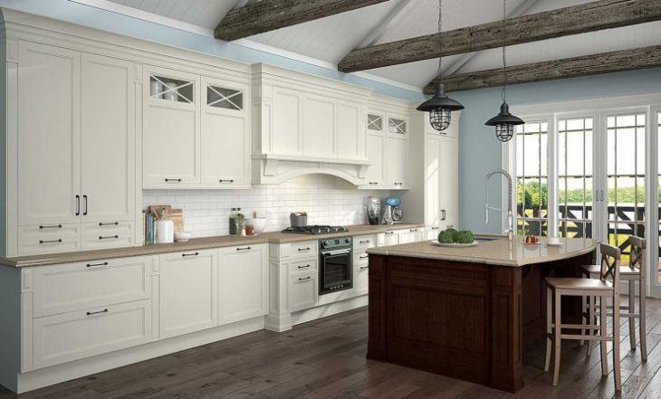Белая кухня голубые стены