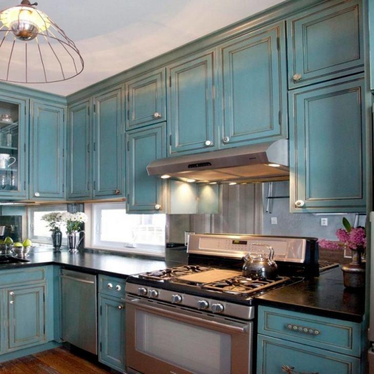 Кухни голубого цвета