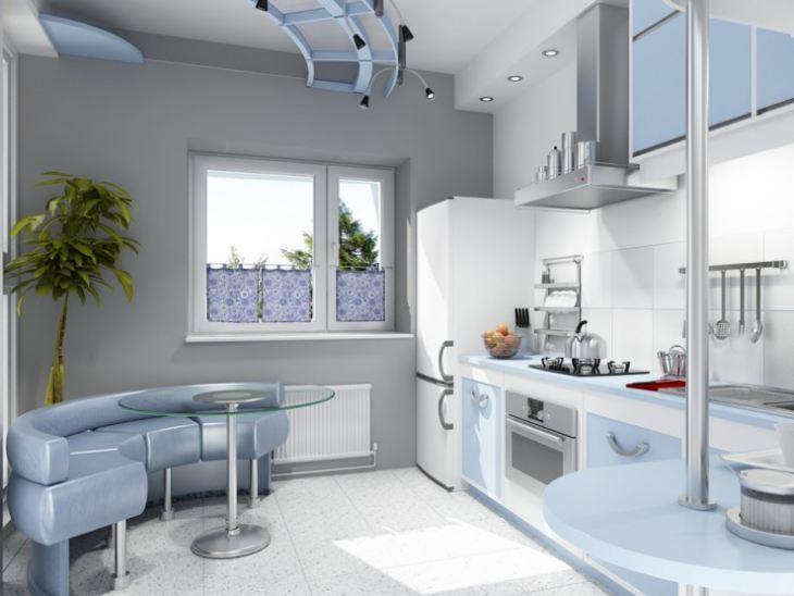 Кухня серо голубая фото