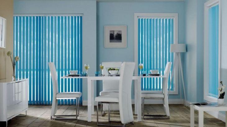 Голубые стены кухни фото