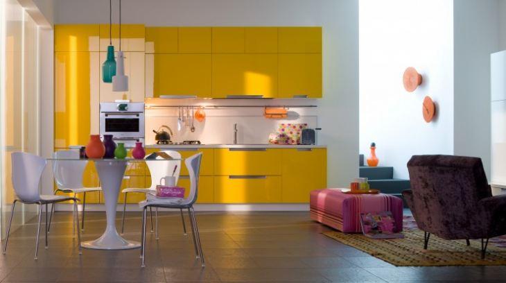 лимонный гарнитур кухня