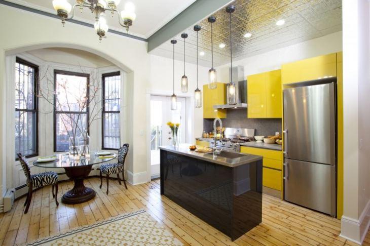 кухня лимонного цвета сочетание
