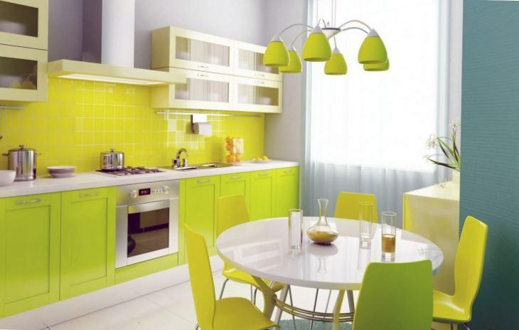 лимонно салатовая кухня