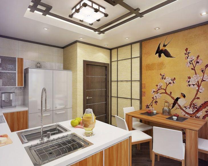 кухня гостиная в японском стиле