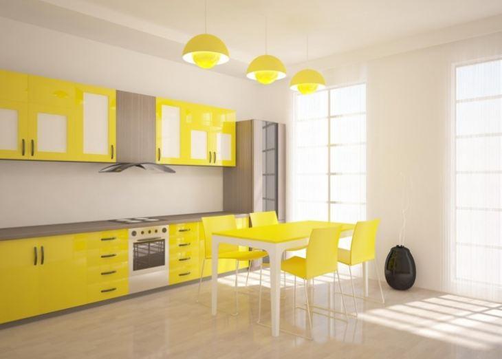 Желто бежевая кухня фото