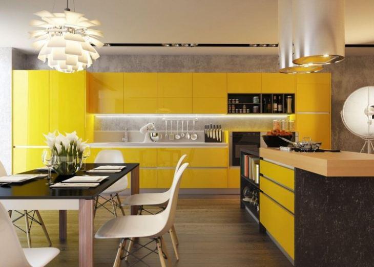 Кухня желтого цвета дизайн