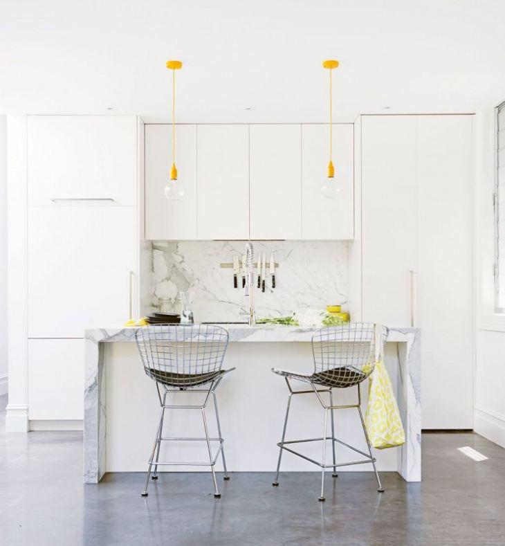 Интерьер кухни в желто зеленых тонах