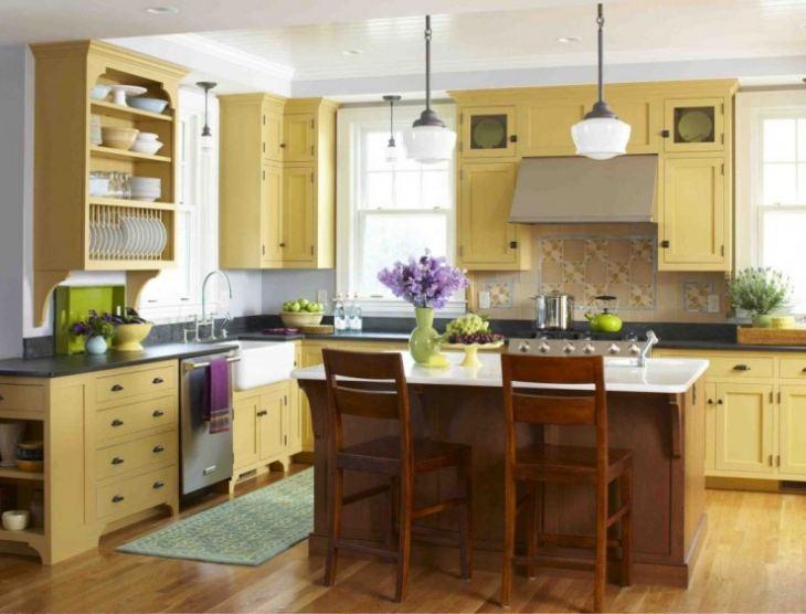 Желто коричневые кухни фото