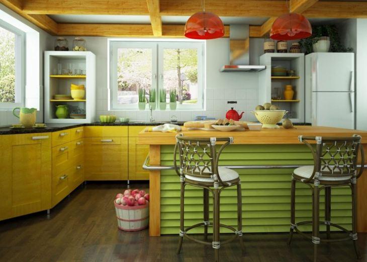 Кухни в желто зеленом цвете
