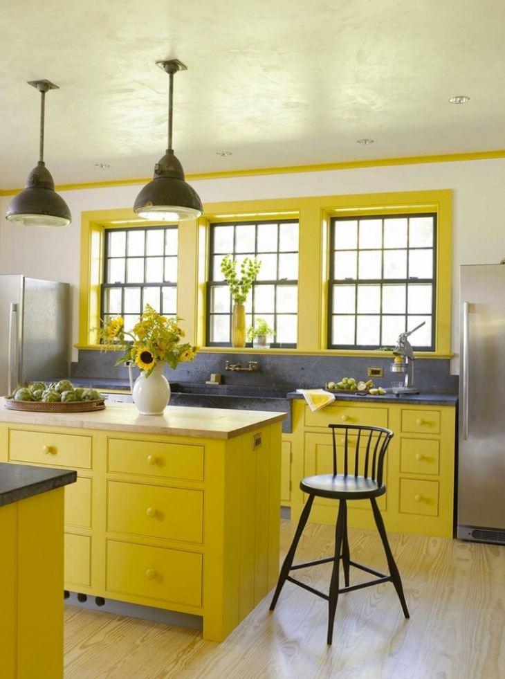 Кухня в желтых тонах дизайн фото